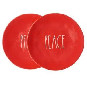 Rae Dunn Red PEACE Dinner Plates
